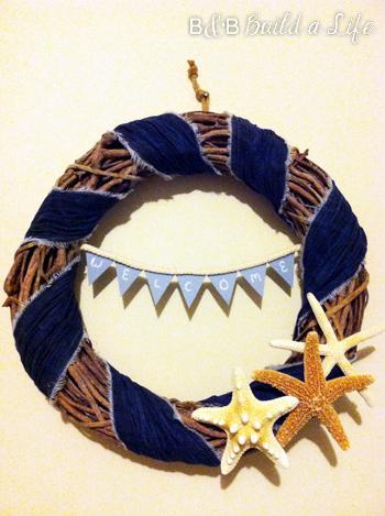 Summer  Seashell & Denim Wreath @ BandBBuildALife.com
