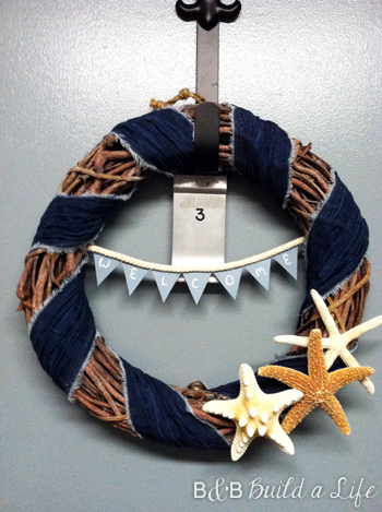 Summer Seashell & Denim Wreath @ BandBBuildALife.com