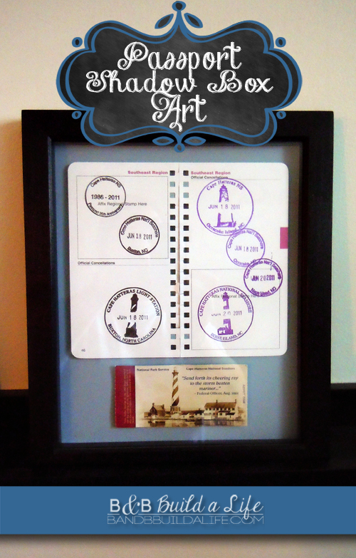 Passport Shadowbox art @ BandBBuildALife.com