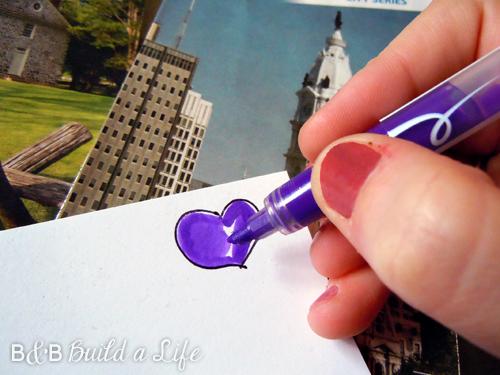 draw a heart on a post-it for a cheap hand drawn sticker @ BandBBuildALife.com