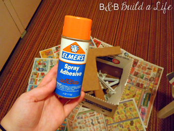 spray adhesive to decorate cork board @ BandBBuildALife.com