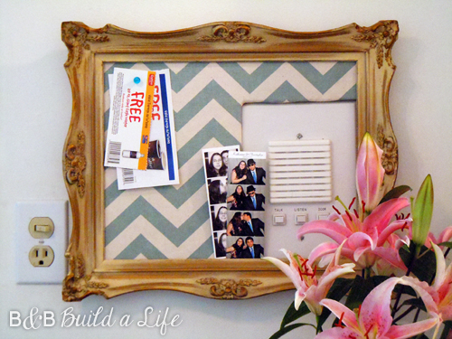 decorative cork board conceals intercom @ BandBBuildALife.com