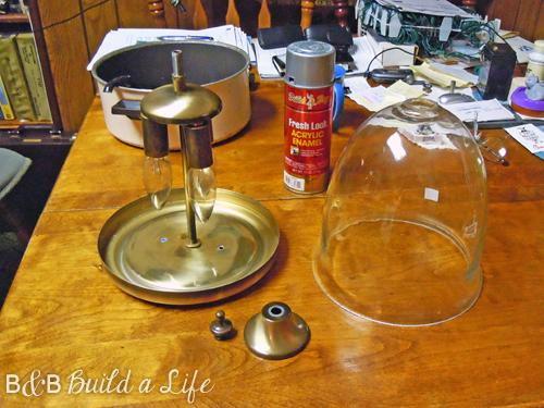taking apart the ugly lamp @ BandBBuildALife.com