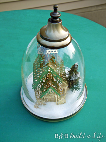 winter scene DIY cloche @ BandBBuildALife.com