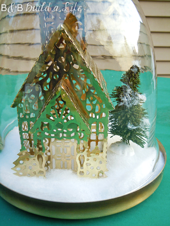 winter scene DIY cloche @ BandBBuildALife.com