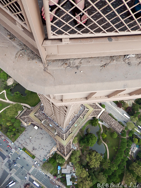 looking down Eiffel Tower @ BandBBuildALife.com