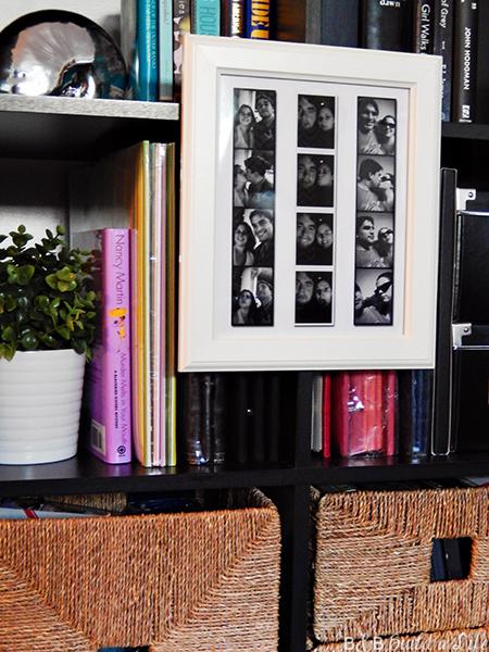 hang artwork picture frame on bookcase book shelf @ BandBBuildALife.com