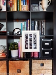 hang artwork picture frame on bookcase book shelf @ BandBBuildALife.com