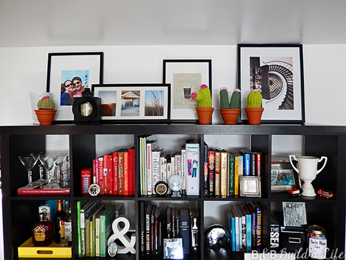 leaning gallery on top of a bookshelf at BandBBuildALife.com