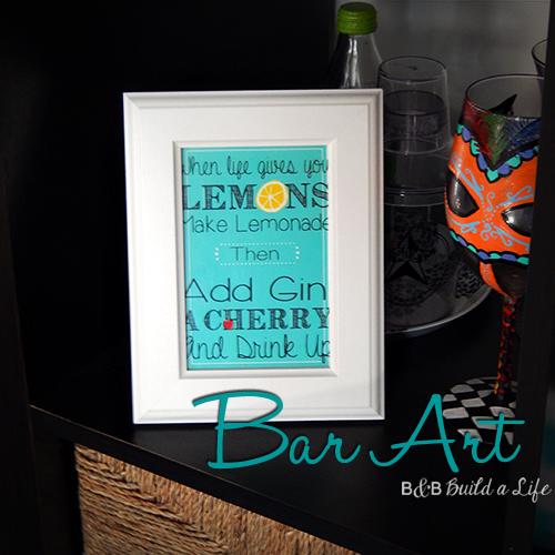 Gin Tom Collins Bar Art @ BandBBuildALife.com