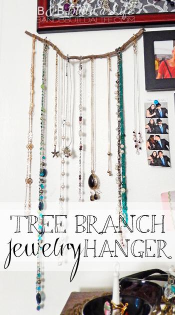 tree branch jewelry hanger at BandBBuildALife.com