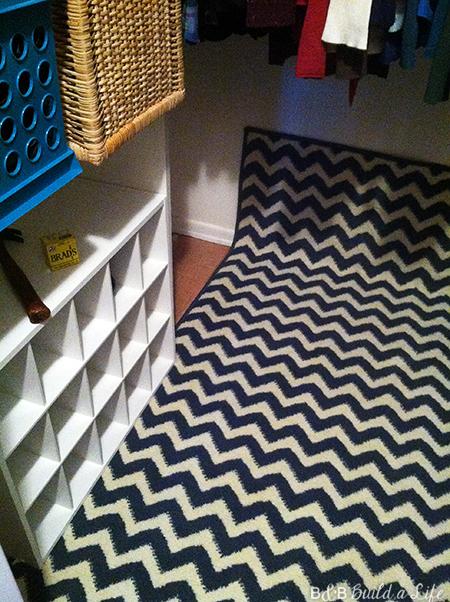 chevron carpet in closet glam closet at BandBBuildALife.com