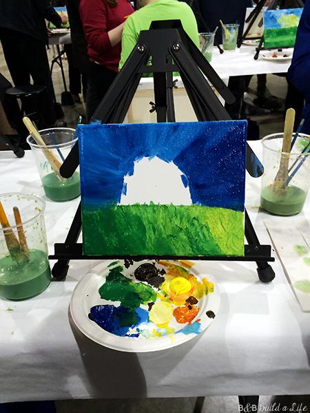 wine and canvas party painting painting at bar at BandBBuildALife.com