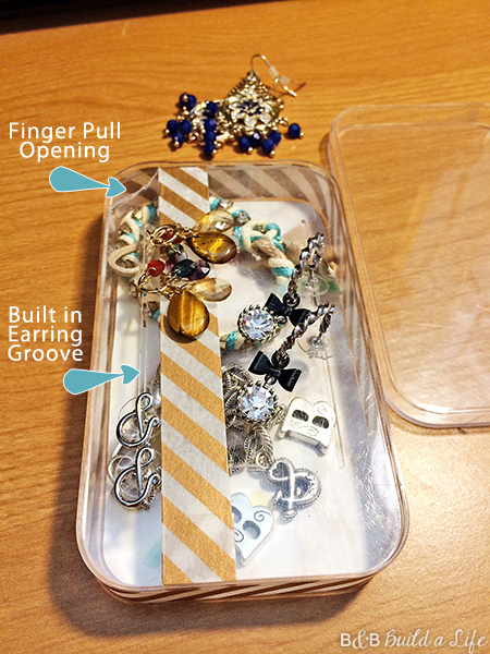 Turn an ipod touch box into a handy jewelry box acrylic travel jewelry box DIY washi tape at BandBBuildALife.com
