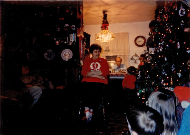 Here my Grandmother tells the story to us kids circa 1992