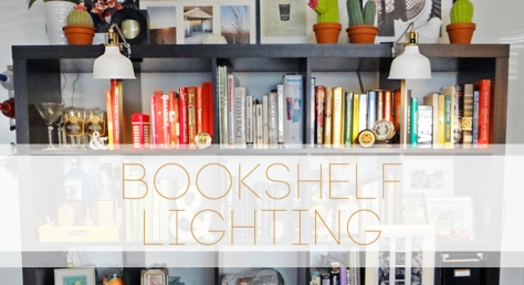 adding easy Bookshelf Lighting from IKEA at BandBBuildALife.com