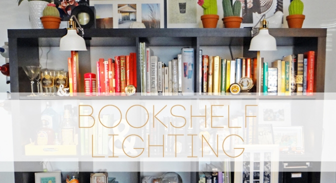 Bookshelf Lighting from IKEA at BandBBuildALife.com