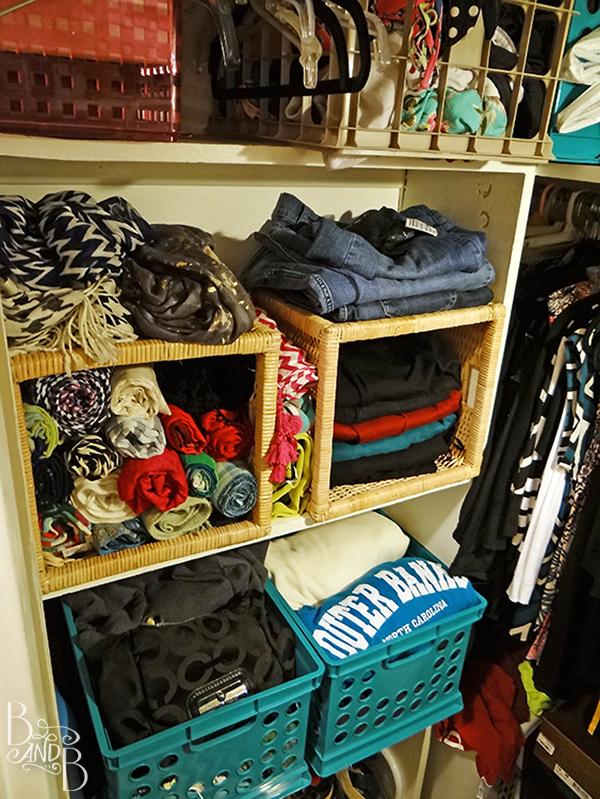 Rotate Baskets to create visual organization in a closet