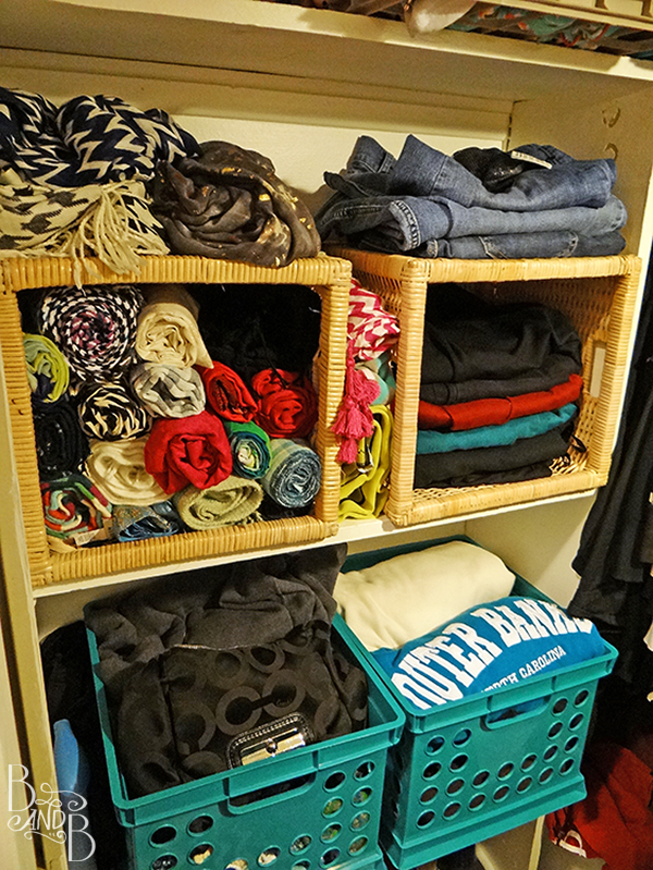 Rotate Baskets to create visual organization in a closet