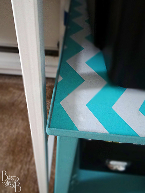 chevron teal refinished printer stand  | from BandBBuildALife.com