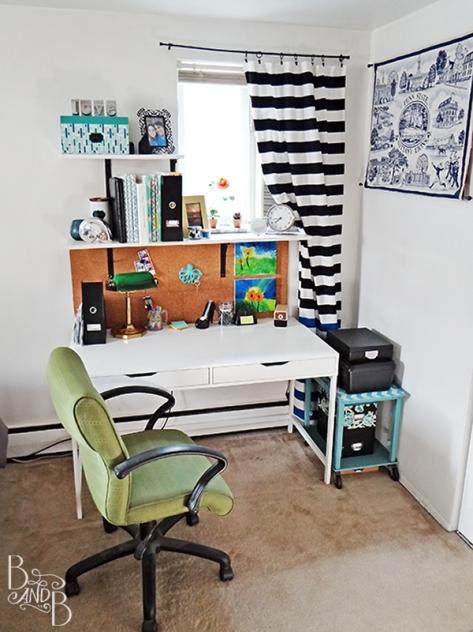 clean lines white with color desk at BandBBuildALife.com