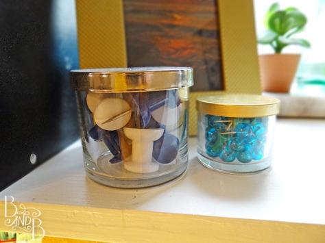 recycled candle jars for storage at BandBBuildALife.com