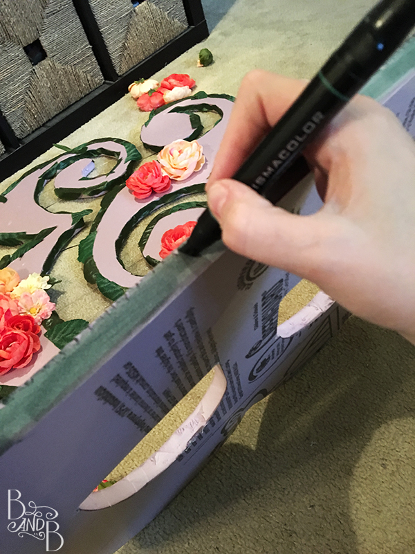 color the edges of floating monogram initials to blend in