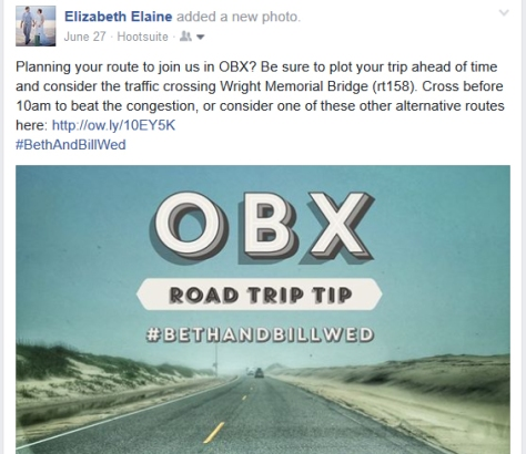 Facebook post sharing traffic advice for a destination wedding