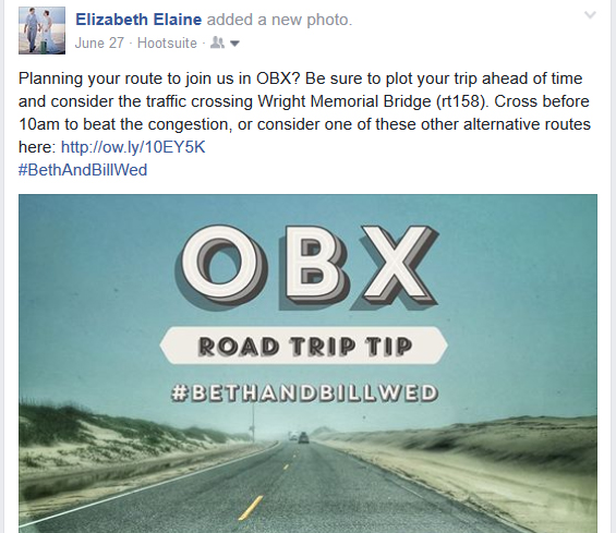 Facebook post sharing traffic advice for a destination wedding