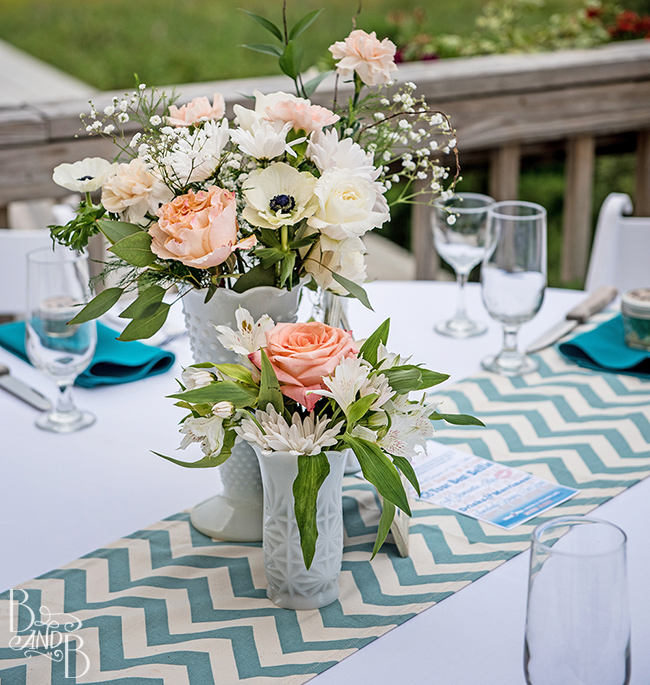 Beth and Bill's Casual milk glass wedding flowers