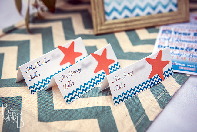 match placecards to DIY invites in Outer Banks Wedding