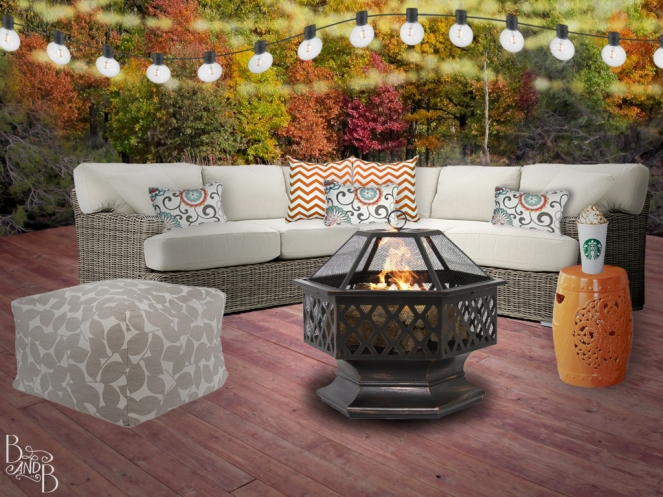 Fall Deck Decor Cozy Fireplace with Globe Lights