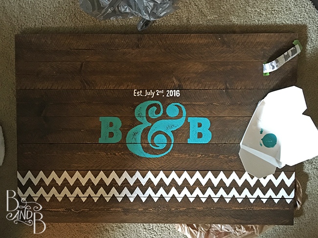 DIY rustic wood plank wedding welcome sign chevron