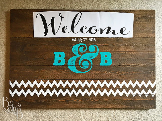 DIY Rustic Wood Plank Hand Painted Wedding Sign turned into Welcome Sign