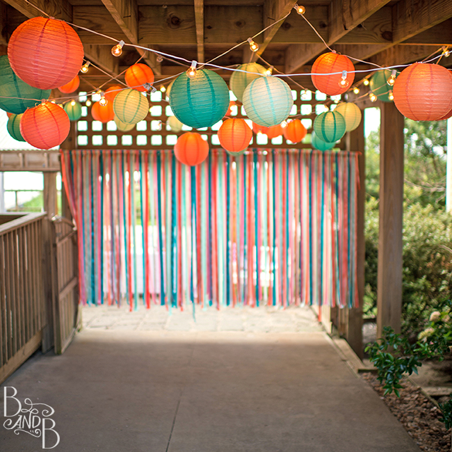 DIY Ribbon Backdrop for Destination WEdding