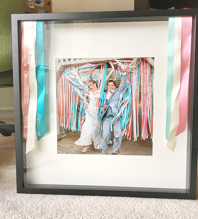 Using leftover wedding crafting to create a memory shadow box frame