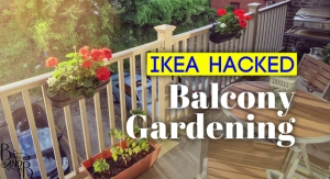 Ikea Hacked railing planters for balcony gardening in the city